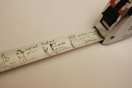 Spray paint tape measure, keep track of kids heights