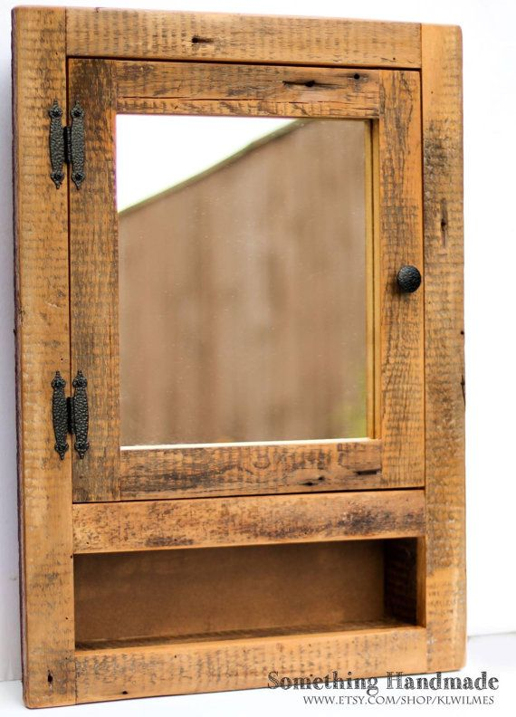 Barn Wood Medicine Cabinet With Open Shelf On Bottom With Mirror