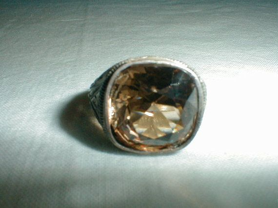 edwardian sterling silver ring topaz by qualityvintagejewels