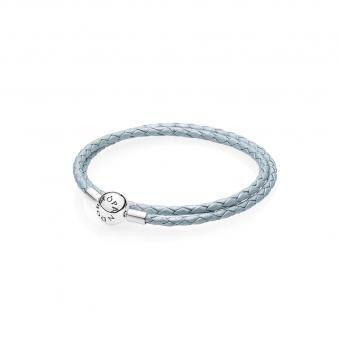 Bracelet Double en Cuir Tressé Bleu Clair Pandora 590734CBL_DOUBLE ...