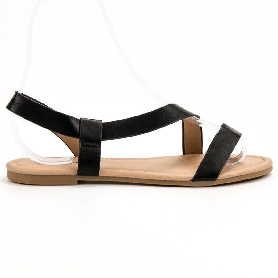 Primavera Wsuwane Plaskie Sandalki Czarne Shoes Sandals Fashion