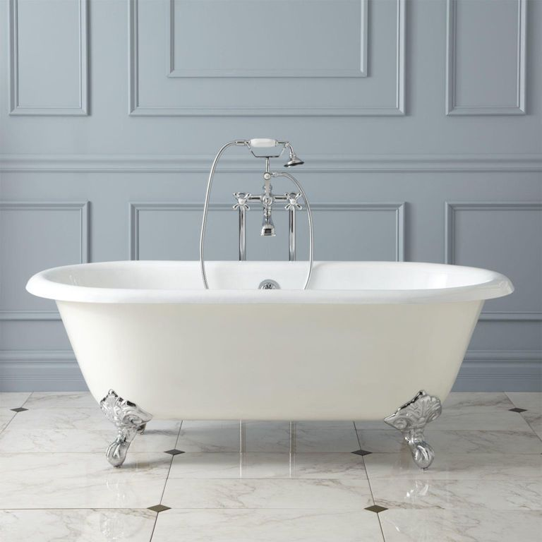 bathroom:good looking white oval old clawfoot bathtubs with chrome