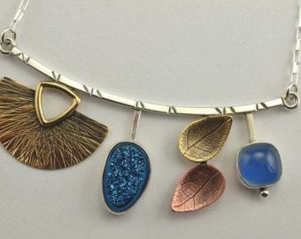 Mixed Metal Necklace Artisan Necklace Textured Metal от YujuUK