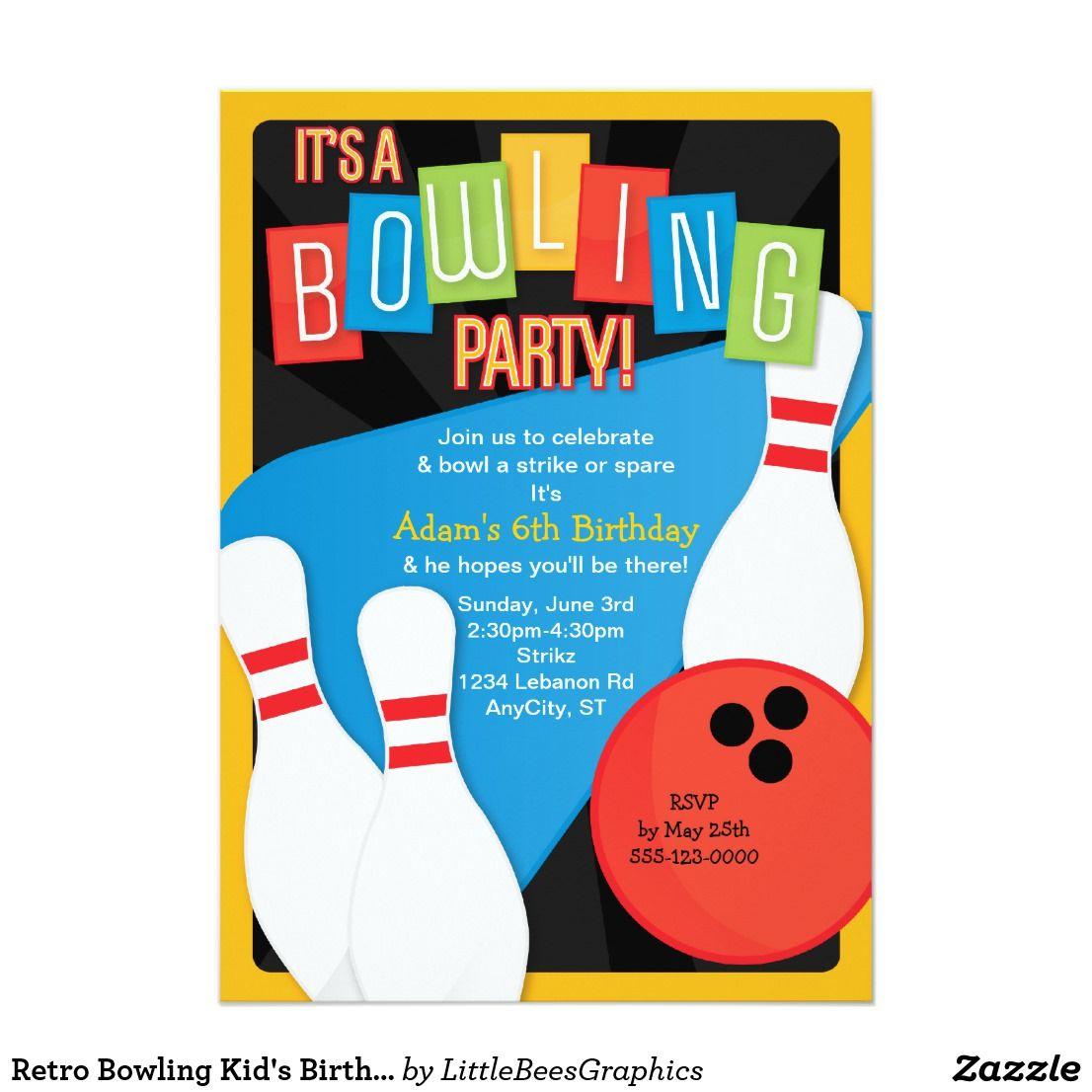 Retro Bowling Kid\'s Birthday Party Invitation | Kid\'s Birthdays ...