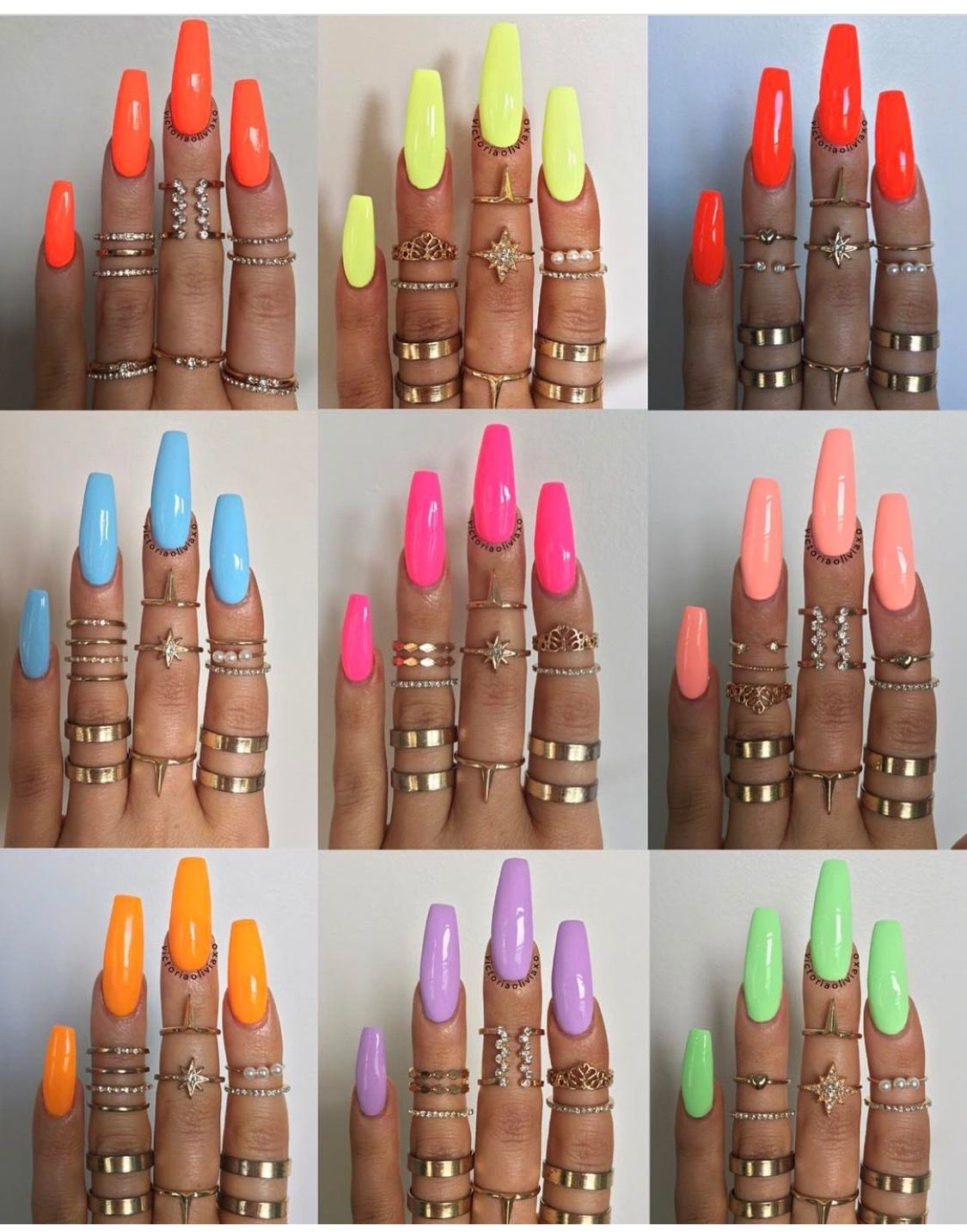Loving These Nail Colors Summer Acrylic Nails Cute Acrylic