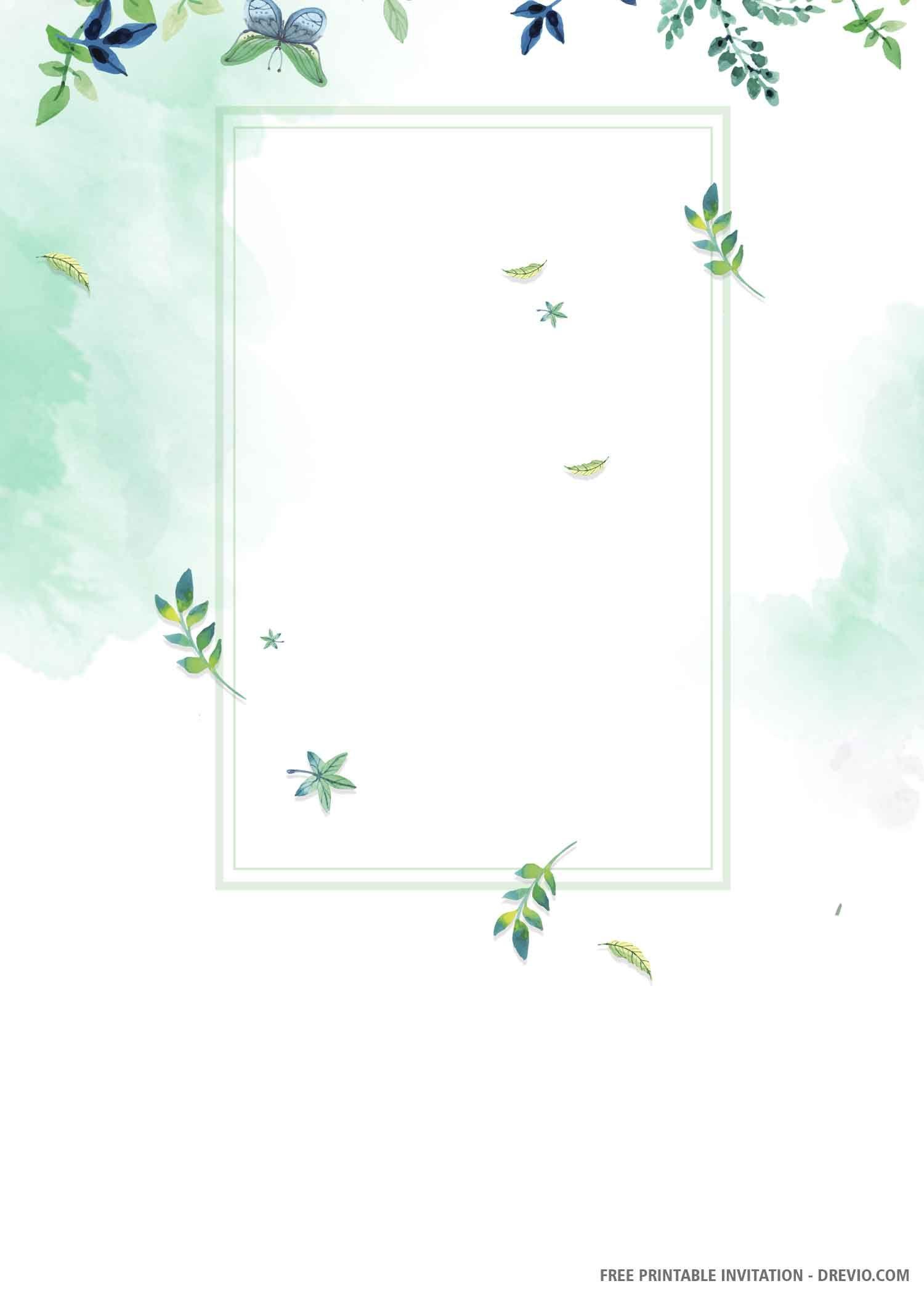 Free printable watercolor eucalyptus wedding