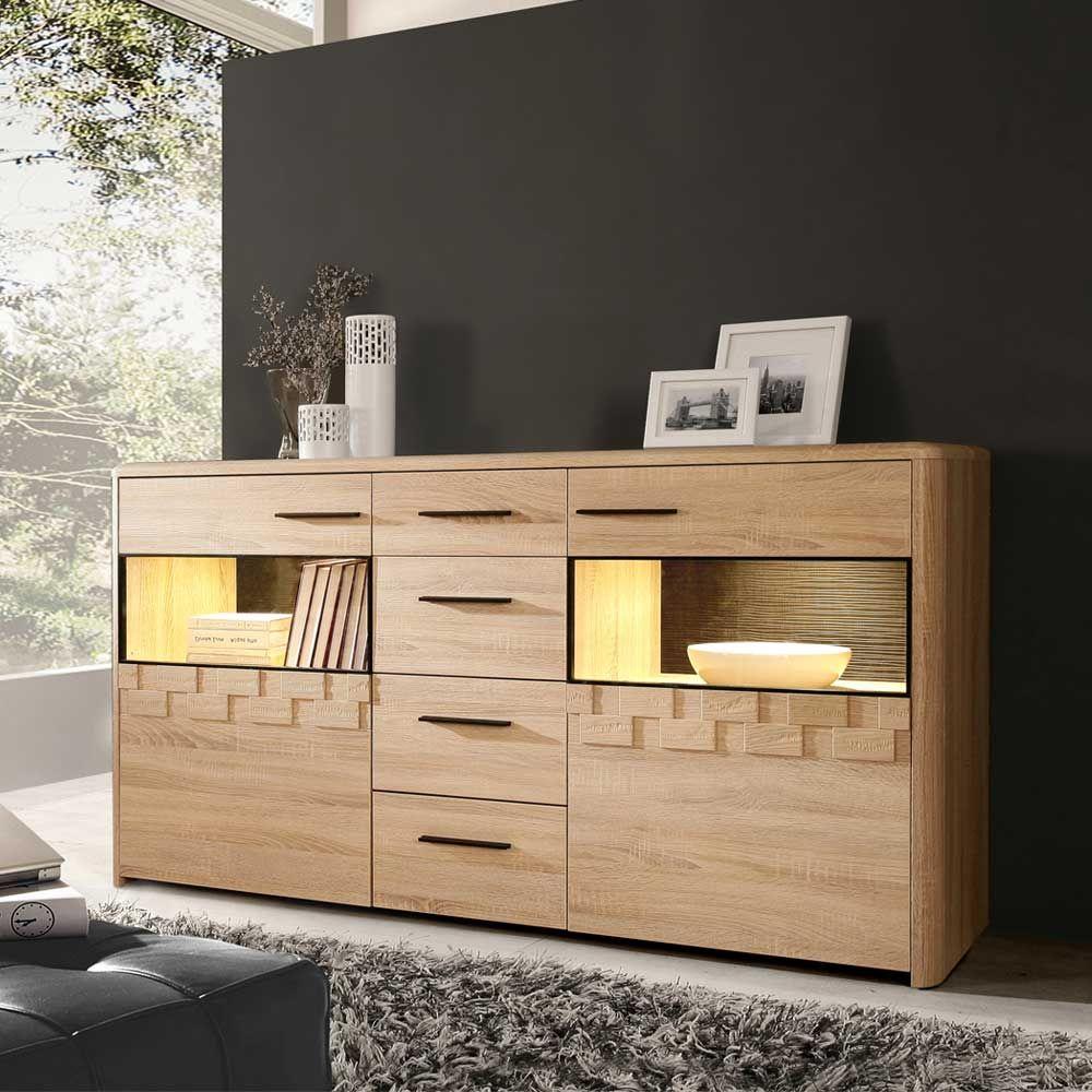 anrichte mit beleuchtung sonoma eiche jetzt bestellen unter. Black Bedroom Furniture Sets. Home Design Ideas