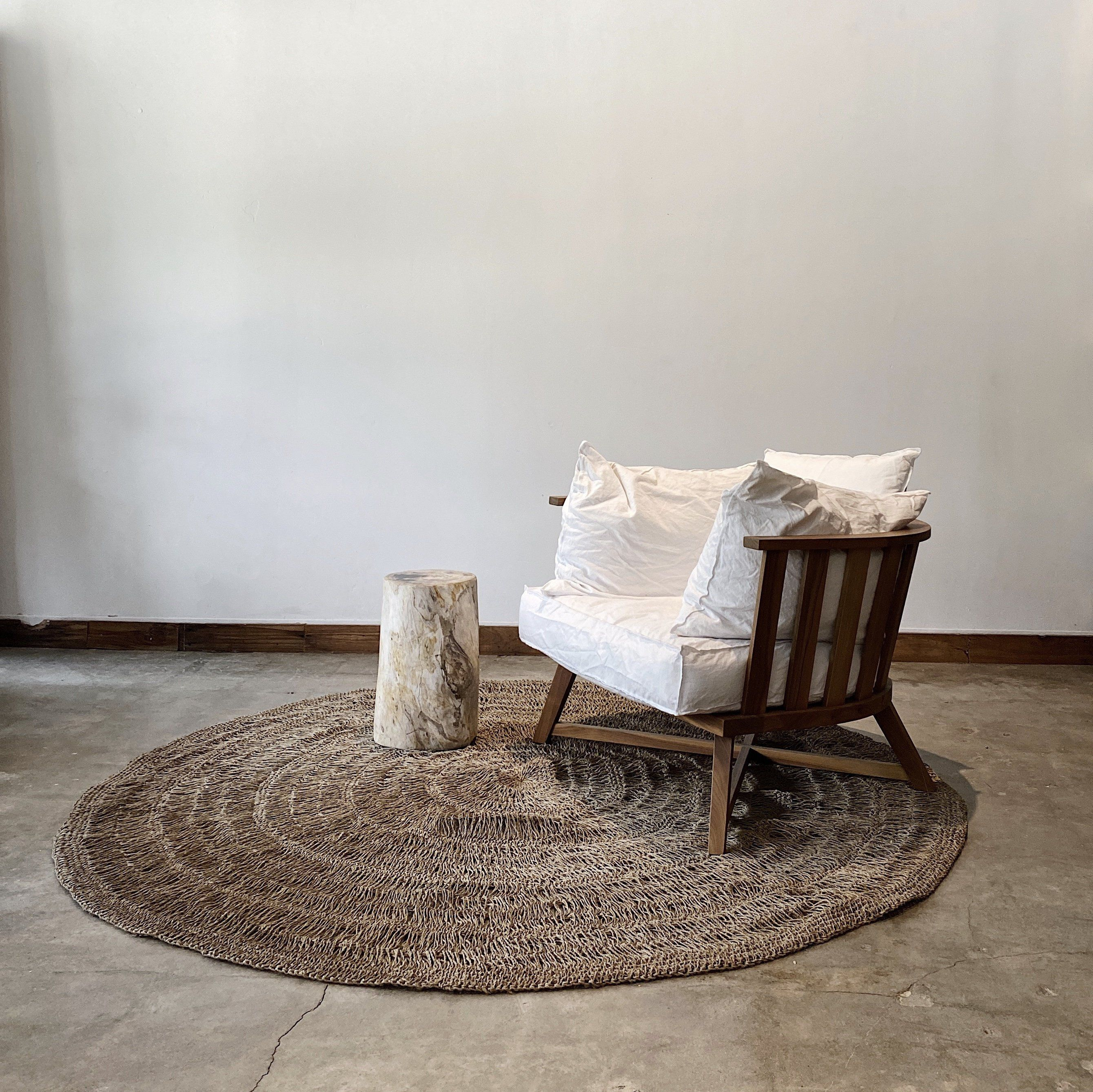 Photo of Round Handwoven Pandan Rug, Natural material for natural looks
