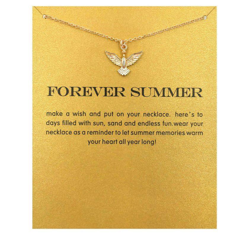 뜨거운 판매 영원히 여름 사랑 비둘기 목걸이 골드 컬러 도금 펜던트 목걸이 쇄골 체인 문 목걸이 여성 보석