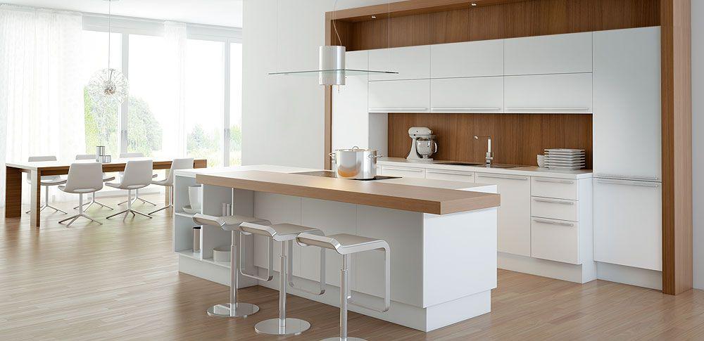cocina-blanca-con-pared-madera Deco inspiration Pinterest - Cocinas Integrales Blancas