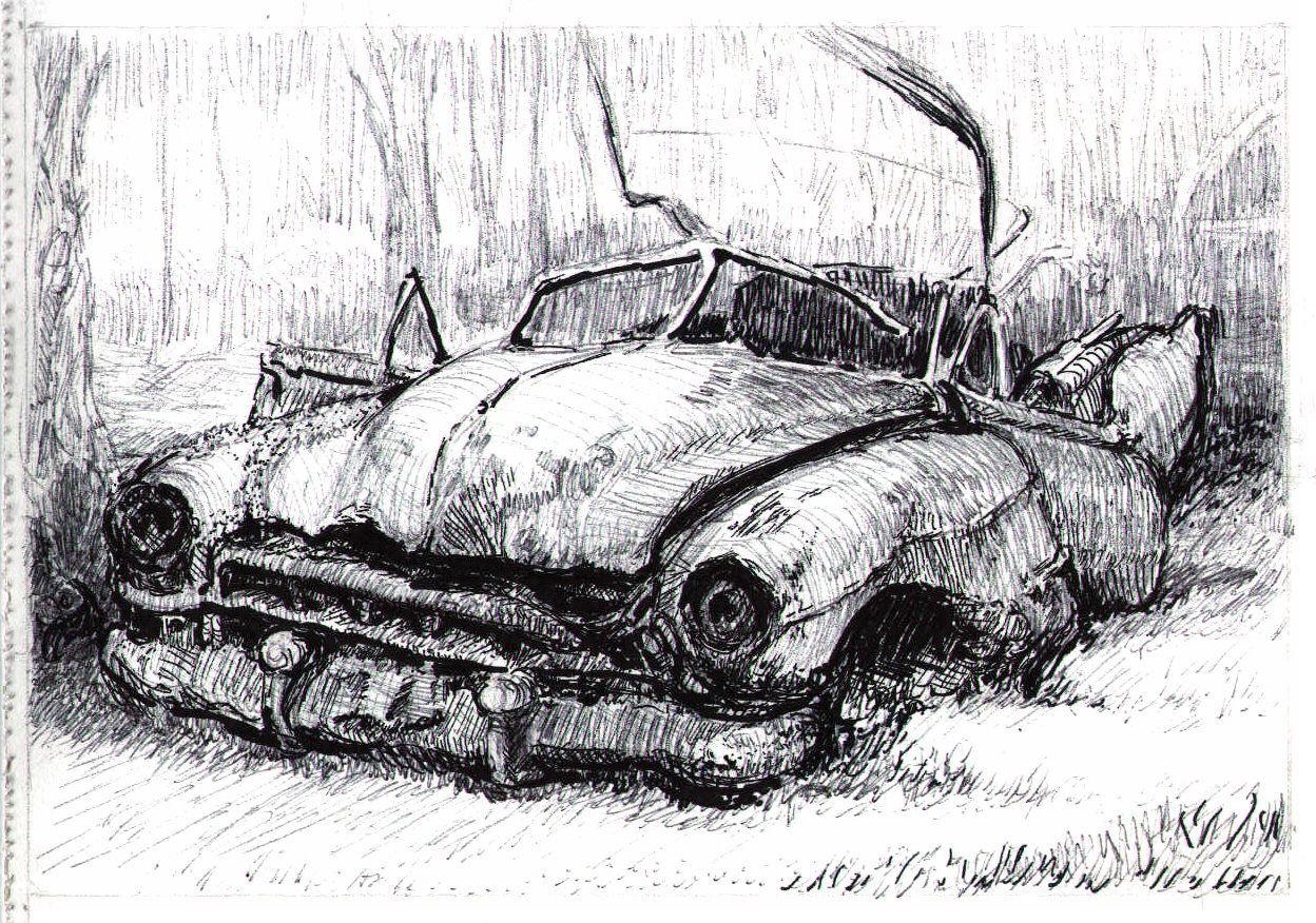 Pen & ink drawing of 1948 or 49 Cadillac convertible in Junkyard ...
