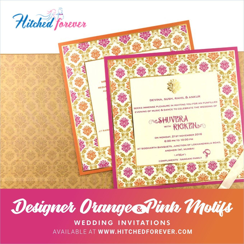 Designer Orange Pink Motifs Wedding Invitations Indian Wedding Invitation Cards Online Wedding Cards Wedding Invitation Cards