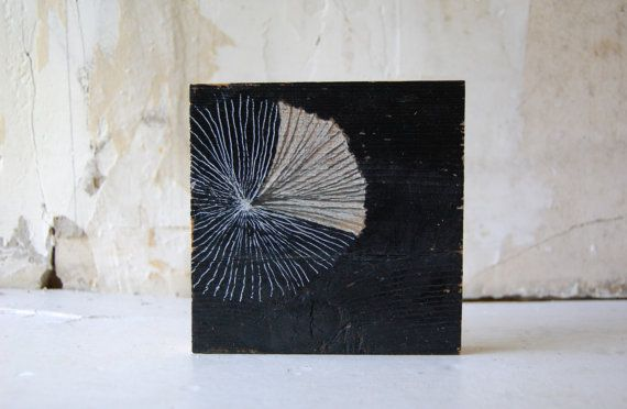 acrylic, graphite, pen on salvaged wood by Enhabiten