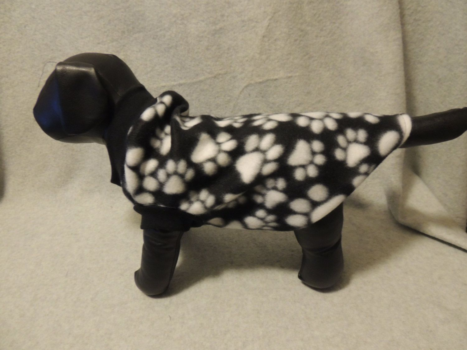 Small Fleece Dog T - Shirt  Black with White Paws by favorite4paws on Etsy