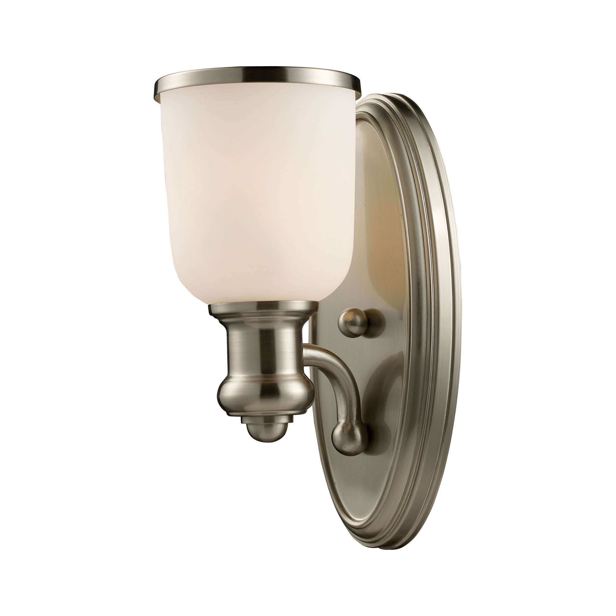 Brooksdale light wall sconce in satin nickel and white glass