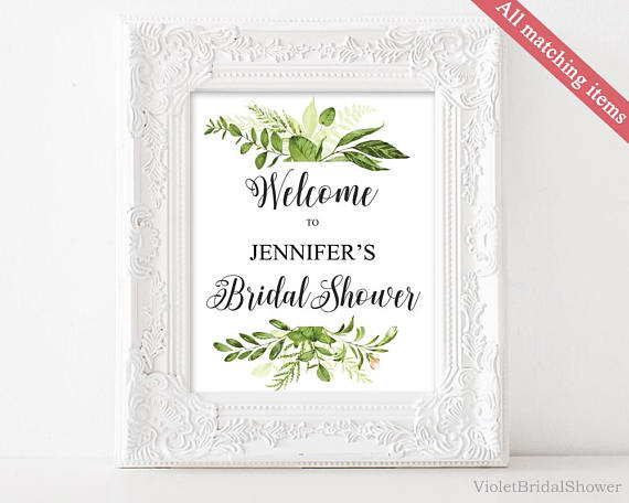 Greenery and gold Welcome Sign Template Printable Bridal Shower Sign ...