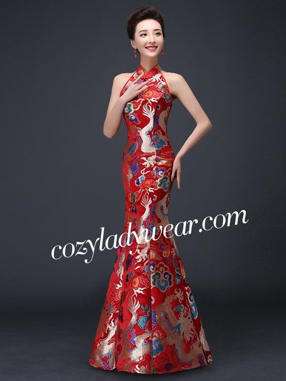 0639901b411 Halter Fishtail Qipao   Cheongsam Wedding Dress with Cutout Back ...