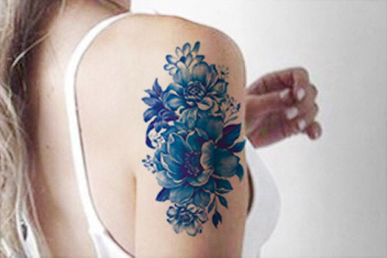 0c7e04bd8 Blue Watercolor Vintage Temporary Tattoo Arm Sleeve - MyBodiArt.com  #sexiesttattoos
