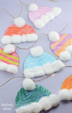 Wintermützen Basteln für Kinder – Perfektes Klassenzimmer-Winterhandwerk mit kostenlosem Ausdruck   – Work Related