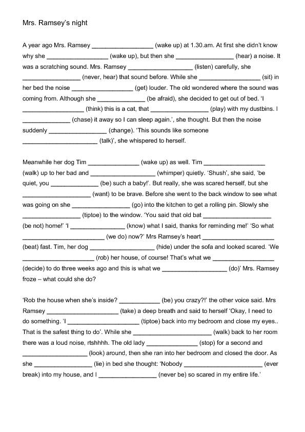 Mrs Ramsey S Night Mixed Tenses Worksheet English Tenses