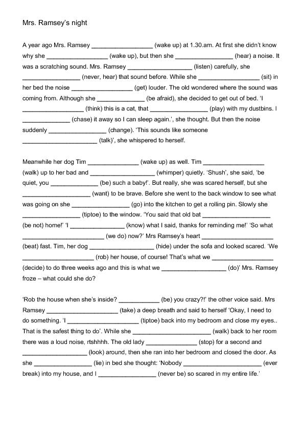 Mrs ramsey   night mixed tenses worksheet also english rh pinterest