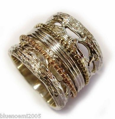 Ring In Sterling Silver 925 And Gold 9 Ct Spinning Bands 925 Sterling Silver Gold Sterling Silver