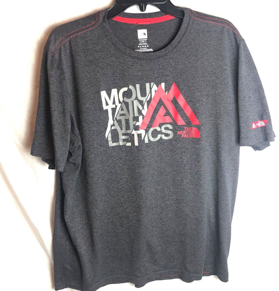 52e01ea3d The North Face Mens Mountain Athletics T Shirt Large Gray Red Short ...