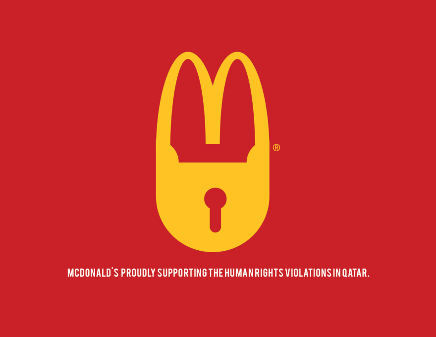 People Make Anti Logos To Urge Sponsors To Withdraw From Qatar 2022 World Cup Fifa S Decision To Hold The 2022 Fifa Worl World Cup Logo Mcdonalds Logo Redesign