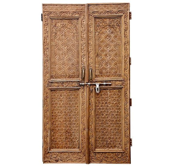 Pair Of Naag Champa Haveli Doors,Wood Door,Antique Door, Door,Rustic Wooden Sliding Door In India on