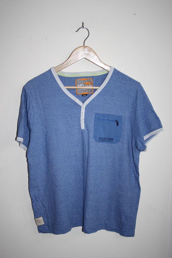 MD MCKENZIE DENIM Fashion Designer Casual Men's Striped T-Shirt Blue Cotton L…