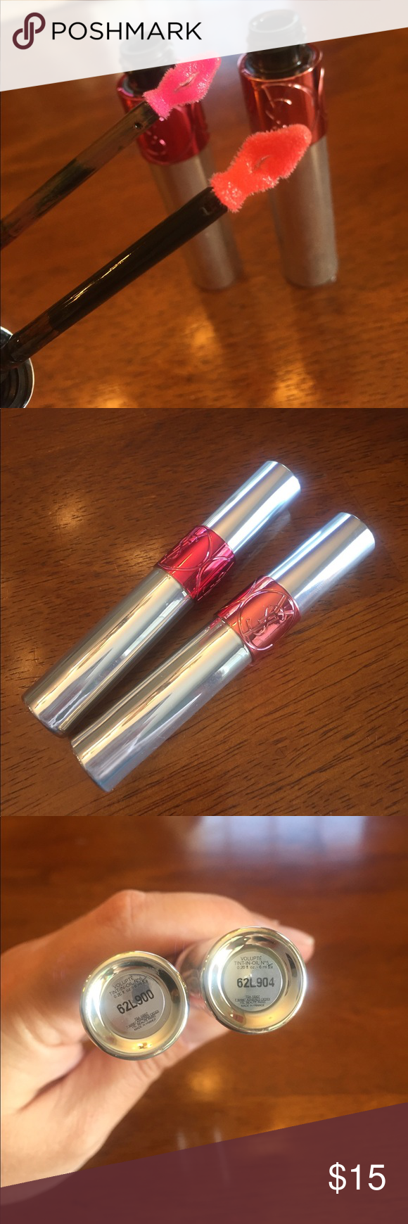 YSL 5   6 Volupté Tint-In-Oil (lot of 2) 2 YSL Volupté Tint-In-Oil in 5  Cherry My Cherie and 6 Peach Me Love. Each used once still in box Yves  Saint Laurent ... 27a10c2df0c