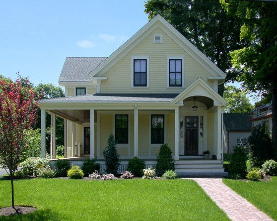 Light Yellow House With Black Windows White Trim House Styles Farmhouse Exterior House Exterior