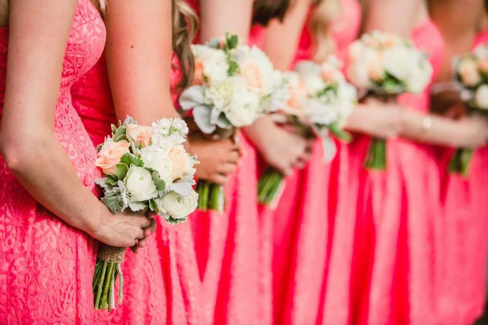 by Chelsea Elizabth Photography - Bridesmaids // Coral Dresses // Donna Morgan // Camarillo Ranch