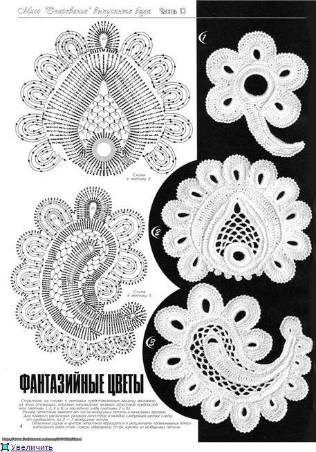 Фантазийные мотивы, схемы для вязания крючком | crochet free form ...
