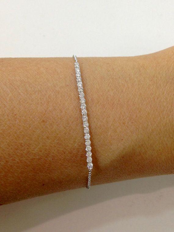 0 50 Carat Diamond Bar Bracelet 14k White Gold Tennis Bracelet Diamantarmband Diamant Armband Silber Armband