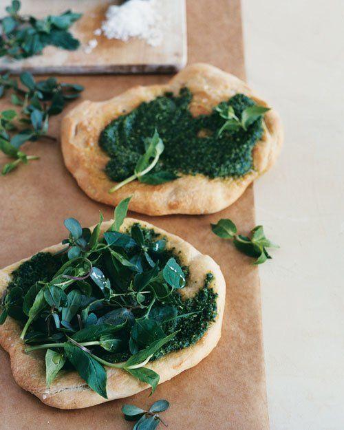 Flatbread w/ Sorrel Pesto & Edible-Weed Salad (chickweed, purslane, lamb's-quarters)