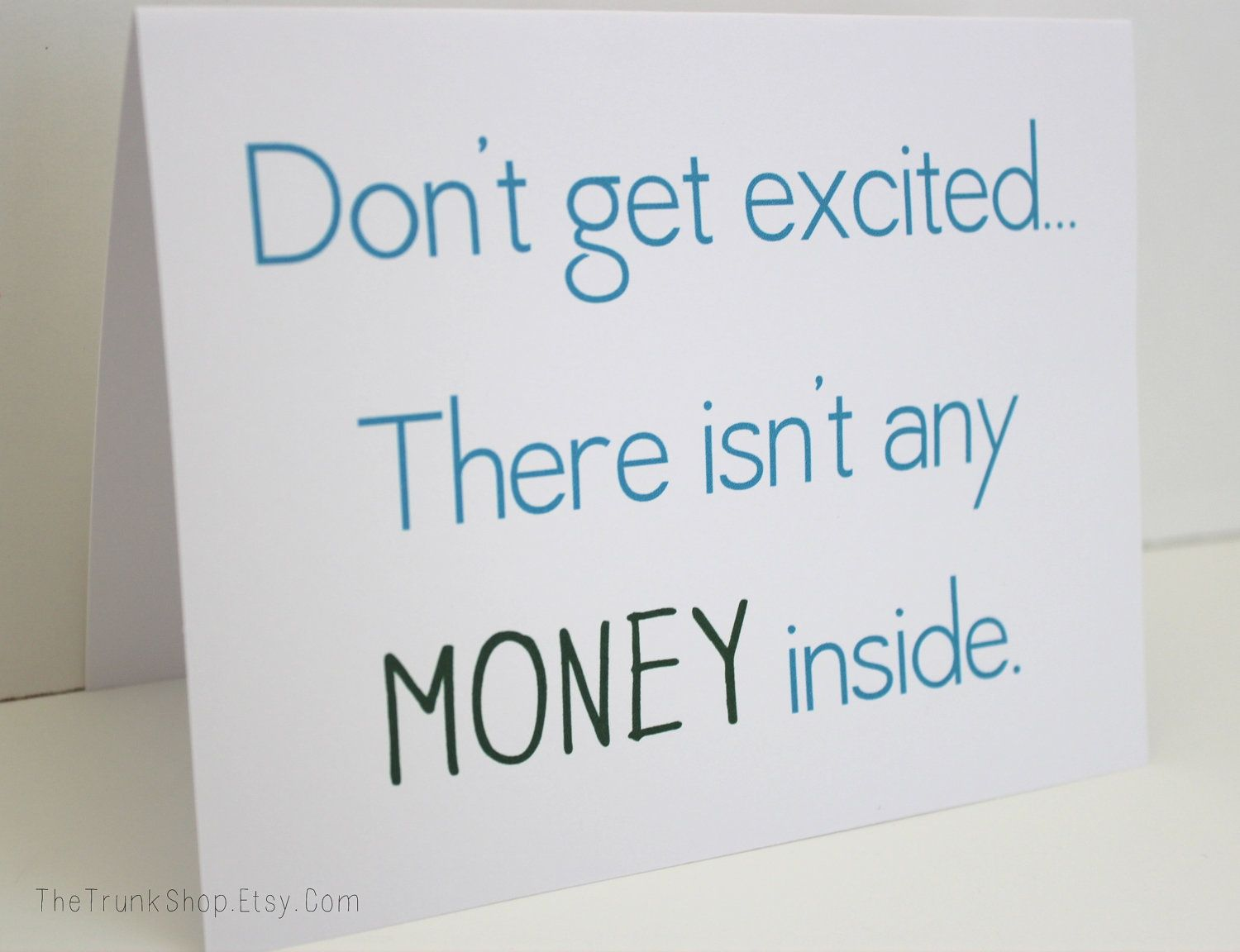 No money x greeting card funny birthday card via