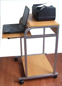 Portable 24 Inch Wide Compact Computer Cart With Hutch For Prnter Desks