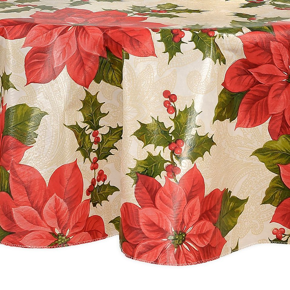 Elrene Home Fashions Scarlet Poinsettia Vinyl 70 Round Tablecloth Red Ivory Vinyl Tablecloth 70 Inch Round Tablecloth Round Tablecloth