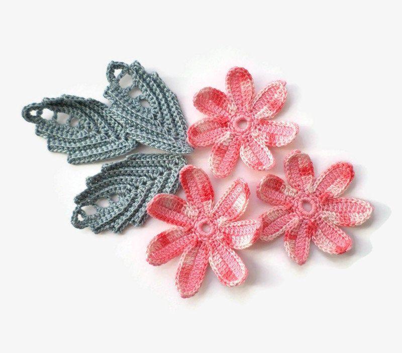 Crochet flower leaf motifs Floral applique Irish crochet decor #irishcrochetflowers