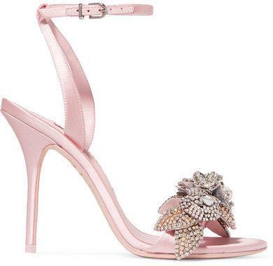 Sophia Webster Lilico Crystal-embellished Satin Sandals - Baby pink ... 01903224579