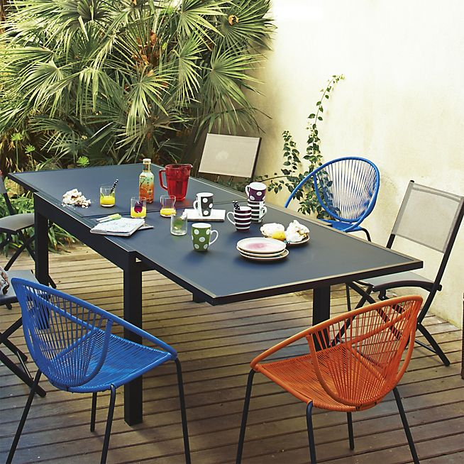 Yanis Table de jardin métal et verre extensible   deco maison ...