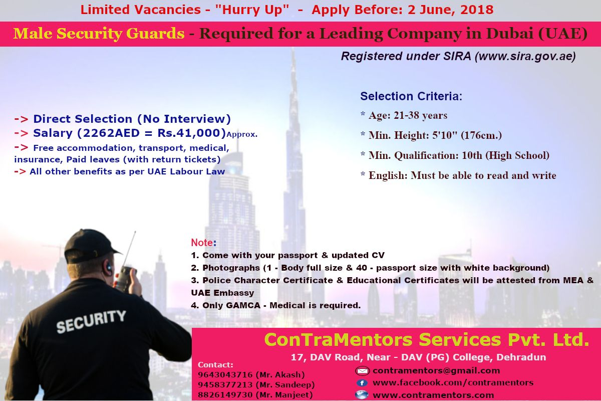 Urgent Requirement For Male Security Guards In Dubai No Interview