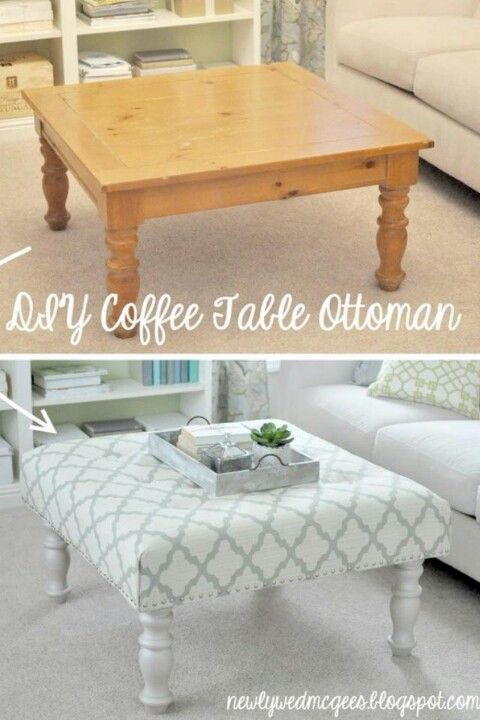 Coffee table to ottoman...possible if I find a good one at a yard ...