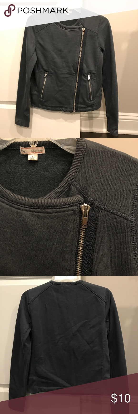 Gap Moto Jacket Grey Gap sweatshirt jacket with moto details. Very comfy! Ribbing inside arms and on sides of jacket is slightly pilled. GAP Jackets & Coats Blazers