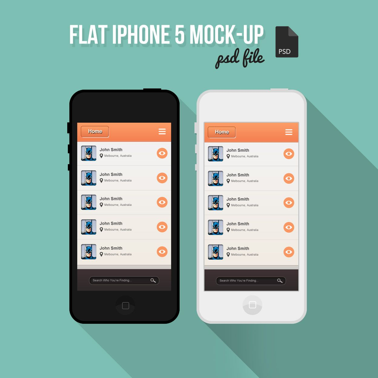 free flat iphone 5 mock up psd - Iphone 5s Mockup Free
