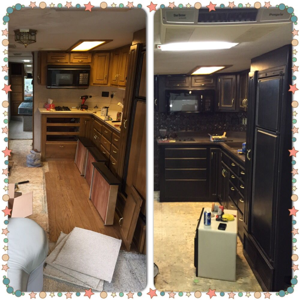 RV Remodel In Progress! Cabinets Painted With Black Chalk Paint, Distressed  And Waxed