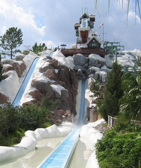 Summit Plummet Blizzard Beach Orlando Fla A Chair Lift Takes Daring Riders To The Top Of This 120 Foot Winter Themed Slide