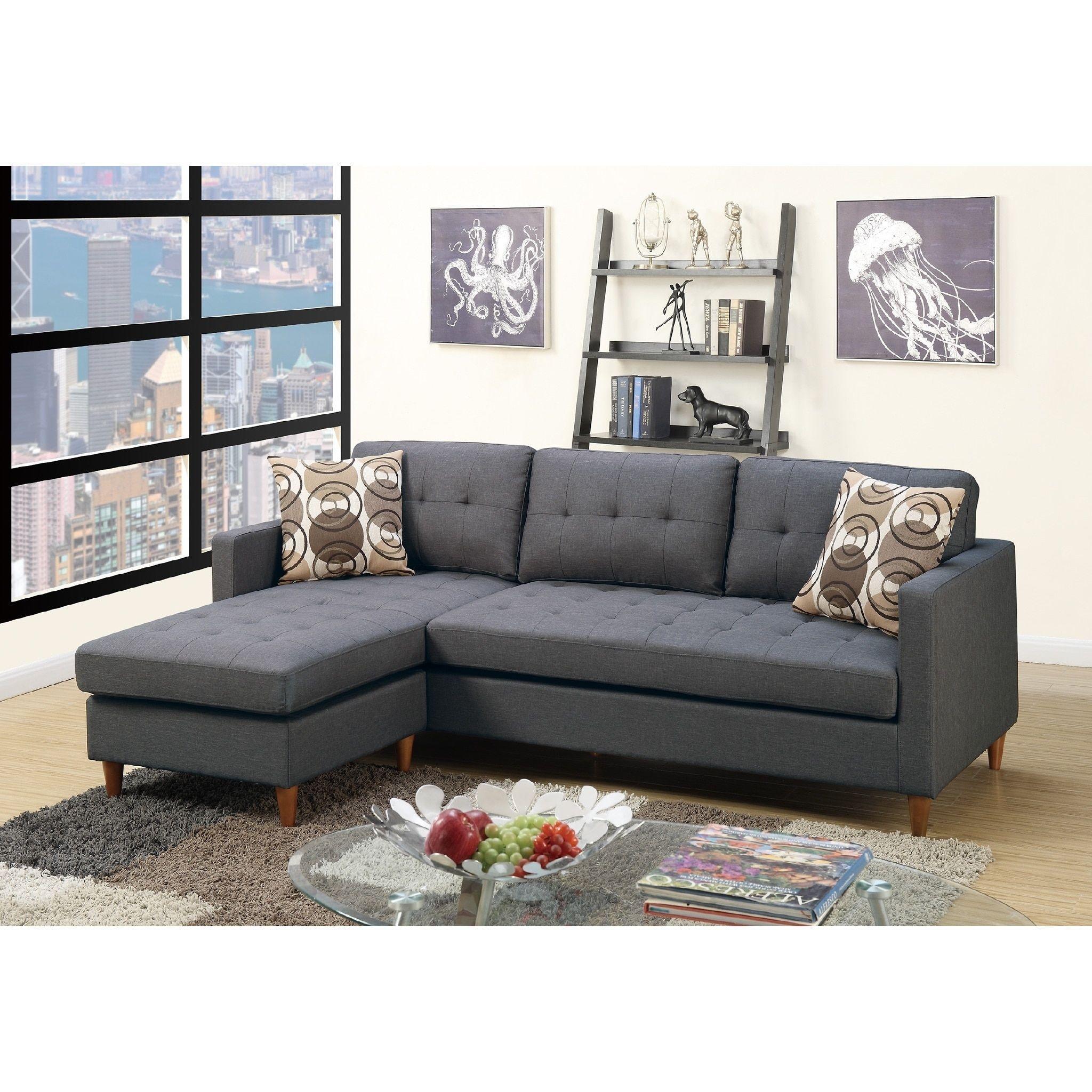 Mendosia Reversible Tufted Sectional Sofa Grey Memory Foam