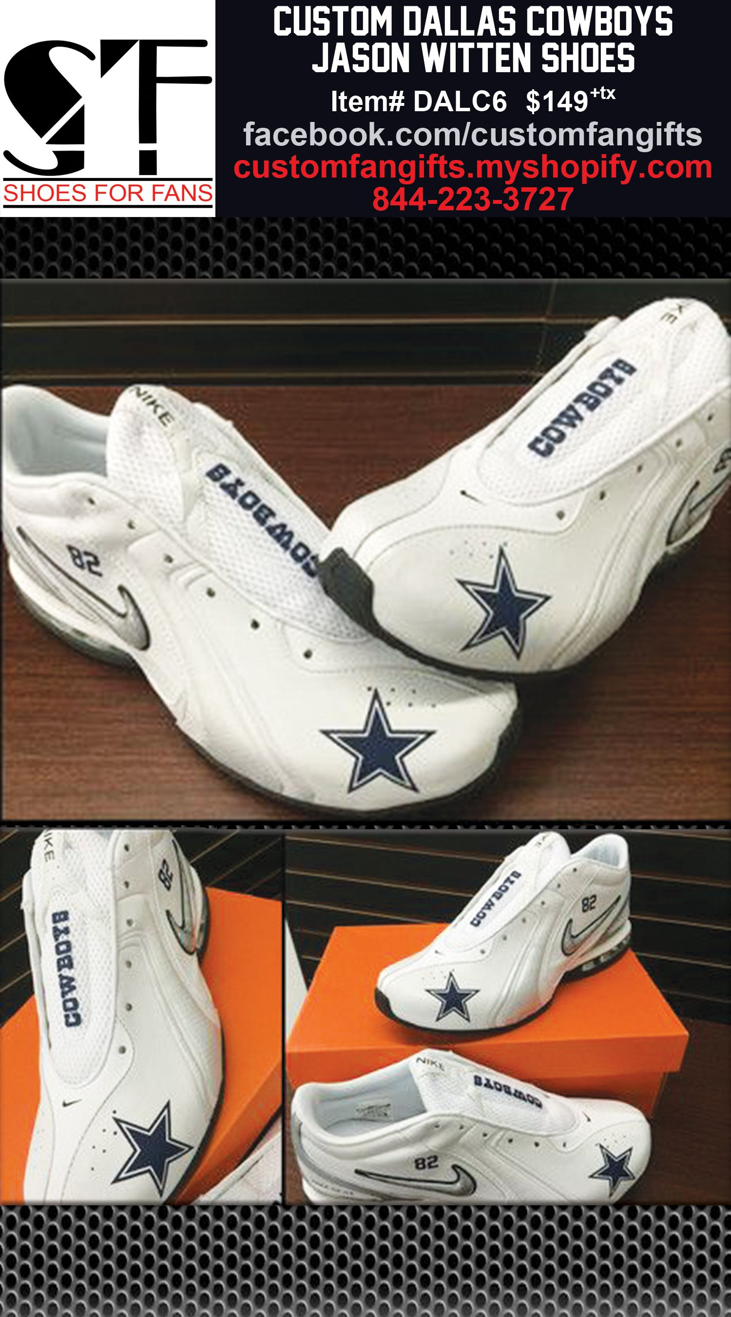Custom Dallas Cowboys Jason Witten Nike Shoes! Order at shop.gifts4fans.com